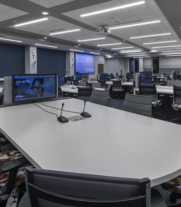 Classroom with technology collaboration tables in the Creighton School of Dentistry