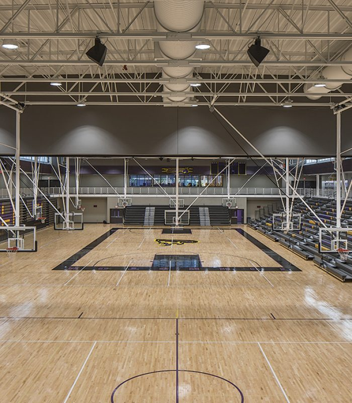 Inside the gymnasium at Johnston High School
