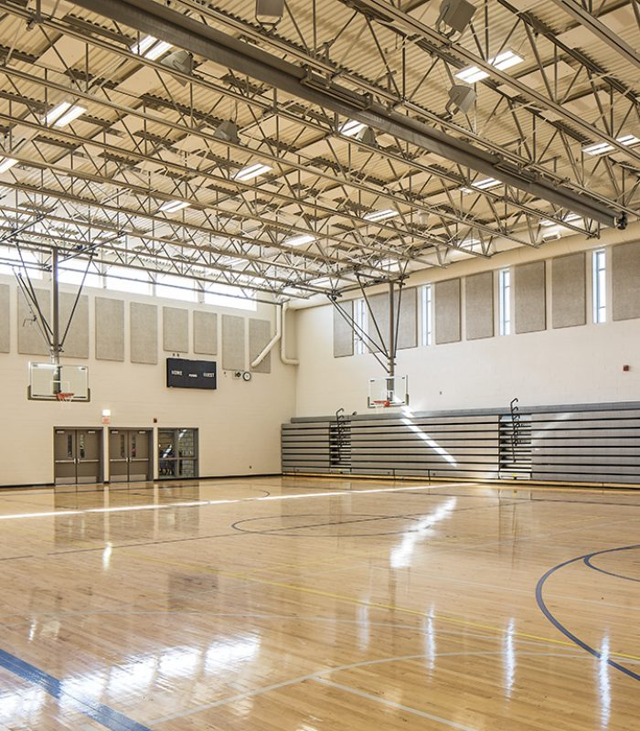 Inside the gymnasium at Liberty Middle School