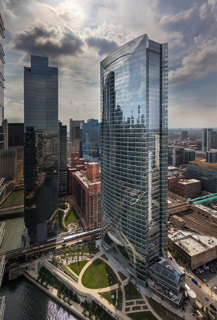 Exterior drone view of the River Point tower and surrounding park