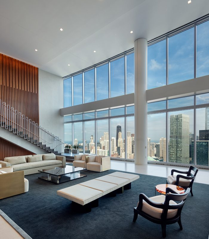 View of a seating area inside River Point Tower