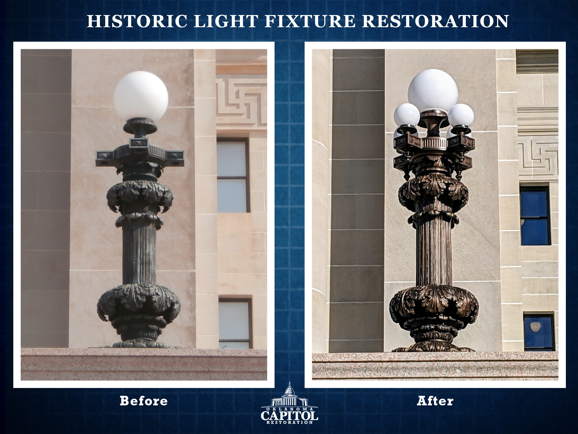 Historic Light Fixture Restoration Oklahoma Capitol