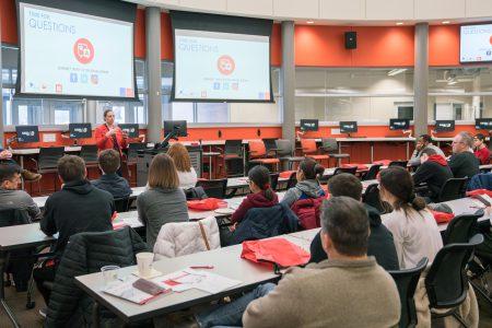 Steph Guy gives an engineering presentation at the University of Nebraska at Omaha.