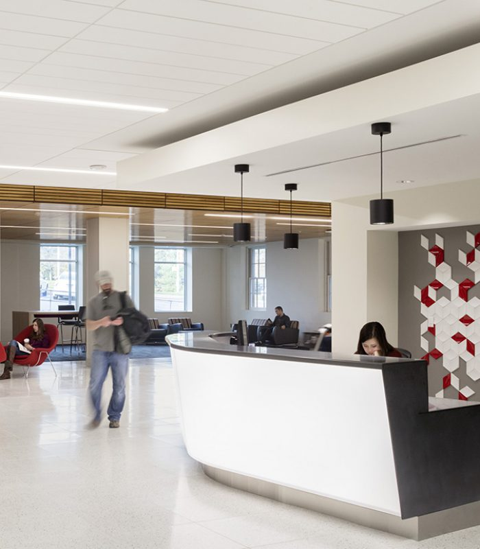View of the front desk at the UNO Milo Bail Student Center