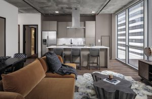 Apartment living room at 5th and Broadway development in Nashville, TN