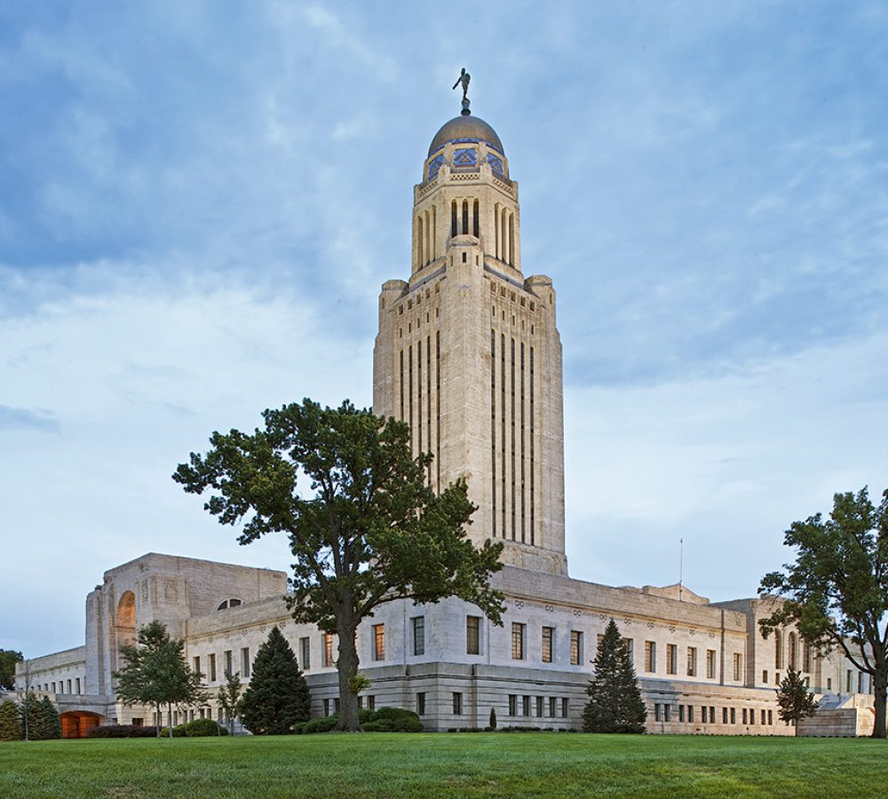 View of the exterior of the Nebraska State Capitol building