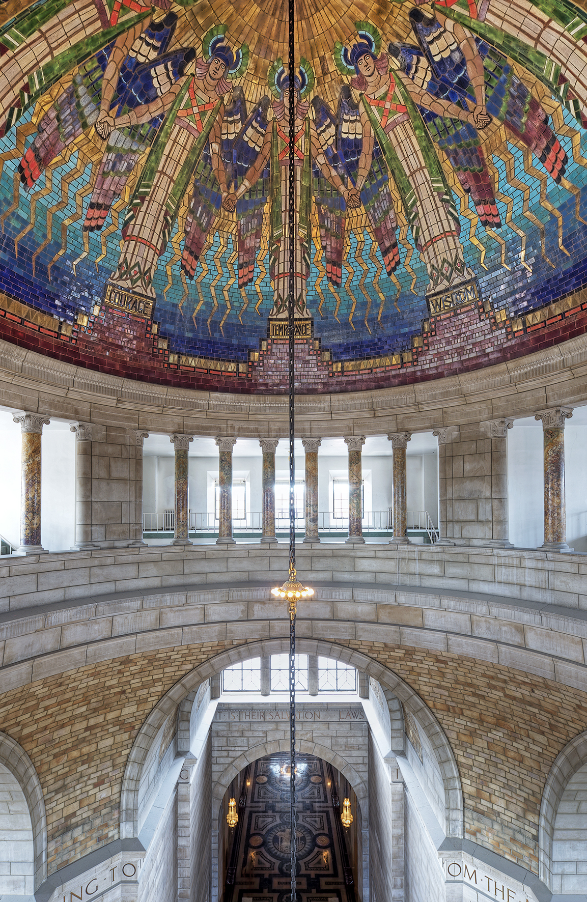 View of the rotunda inside the Nebraska State Capitol building