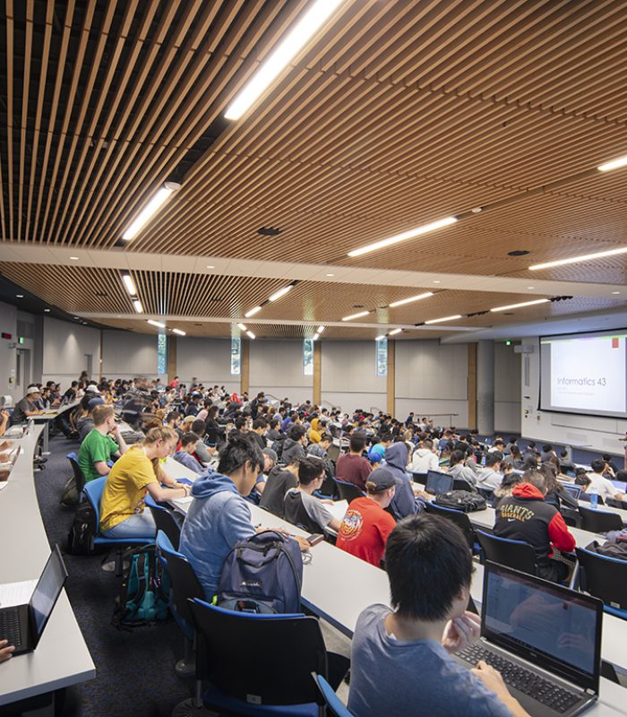 Inside a lecture hall at the UCI Anteater Learning Pavilion
