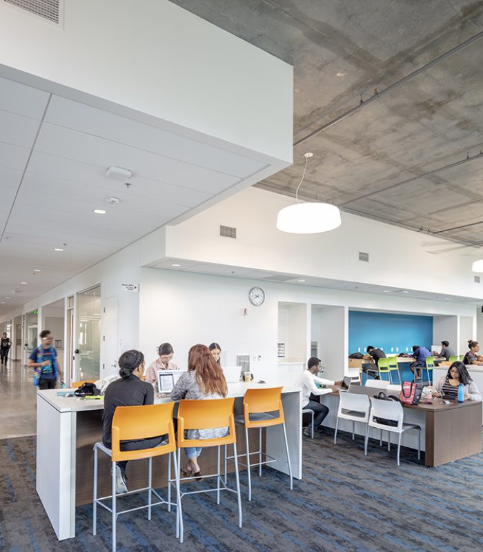 Interior view of a study lounge at the UCI Anteater Learning Pavilion