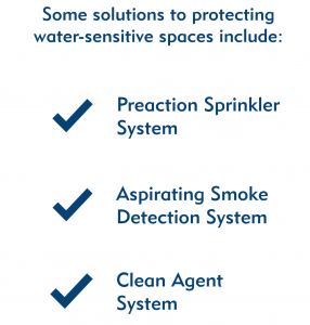 Water sensitive fire protection solutions