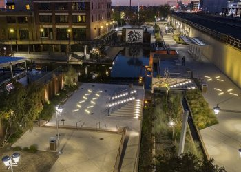 Aerial view of the Bricktown walkway in OKC after relighting