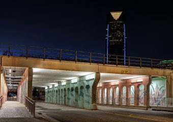 Far view from the underpasses to Bricktown in OKC