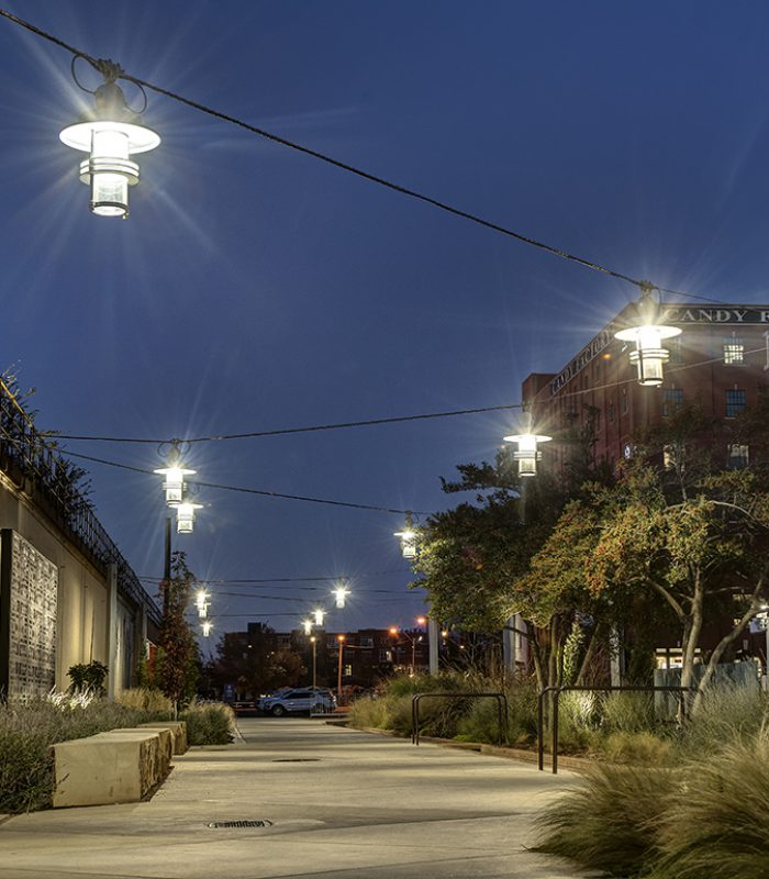 View of the catenary lights along the Bricktown walkway