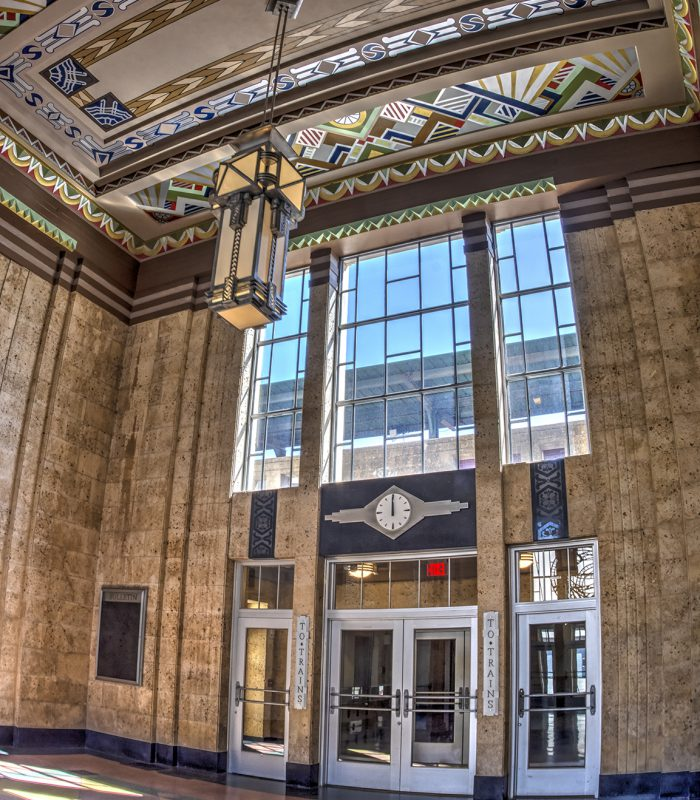 View inside the lobby at the Santa Fe Train Station in Oklahoma City, Oklahoma