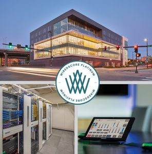 Exterior and interior views of Wired Certified Platinum space at 1201 Cass Street.